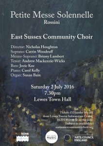East Sussex Community Choir concert poster July 16